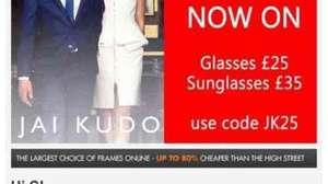 Jai Kudo sale at Specky Four Eyes £25 for prescription £35 for sunglasses plus delivery £4.99