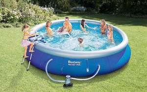Bestway 15ft Fast Set Pool  - Includes filter pump, ground cloth, ladder, pool cover and more (Was £219.99) Now £153.99 at Very