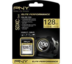 PNY Elite Performance SDXC 128GB R/100 W/75 MB/s - £24.97 @ Currys