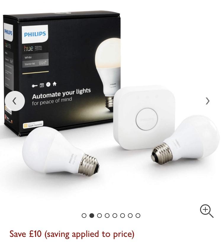 Philips Hue white starter - save £10 - £49.95 @ John Lewis (Free C&C)