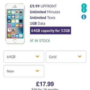 apple iPhone SE contract deal - £17.99pm x 24 (£9.99 upfront) 1GB data, unlimited calls and texts - £441.75