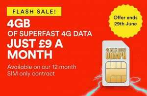 £9 SIMO 4g 4gb, 2500 mins, unlimited text (9 x 12 months - £108) - includes Data rollover  @ Virgin Mobile