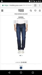 ba14fb3bae4 Diesel Denim Trousers 50% (Yoox from £40) with free Express Delivery