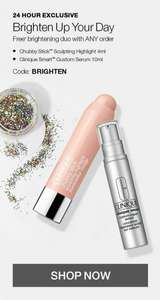 Clinique free brightening duo with any purchase plus a free sample code BRIGHTEN