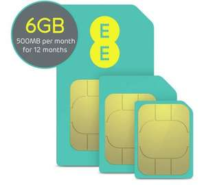 EE 12 month Data SIM 500Mb/Month Now £19.99 @ Argos