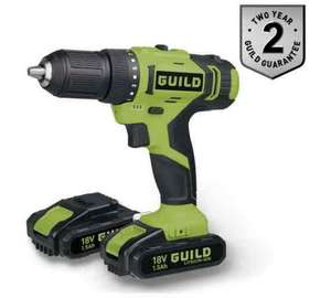 Guild 18v Combi Drill with 2 batteries 1.5Ah £43.99 @ Argos C&C