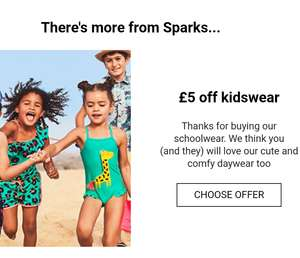 Free socks or tshirt with £5 off kidswear with M&S Sparks