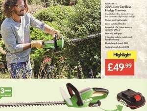 20v Li-Ion Cordless Hedge Trimmer (Includes Battery) £49.99 - LIDL (Florabest) - 3 Year Warranty