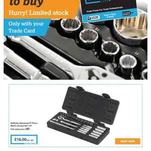 "Halfords 27 piece 1/4"" socket set was £60 now £25 or £16 with trade card"