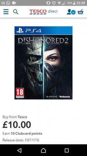 dishonored-2-ps4 £10 @ Tesco