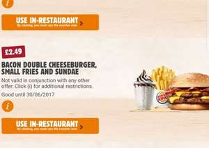 Bacon double cheeseburger, small fries and sundae - £2.49 (using BK app) @ Burger King