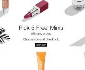 5 free deluxe minis with ANY order at Clinique, plus free delivery