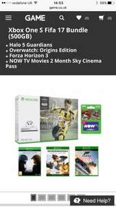 XBOX ONE S CONSOLE- Fifa 17 (digital), Forza Horizon 3, Overwatch, Halo 5, Now TV (2 months movie) £219.99 - GAME