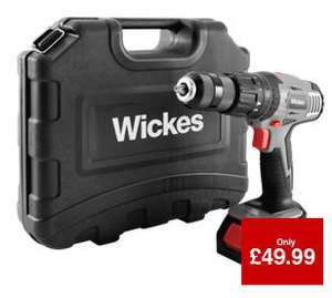 Wickes 18V Li-ion Cordless Combi Drill with 2 Batteries 50% OFF Reduced from £99.99 to £49.99 with 2 YEAR Guarantee!