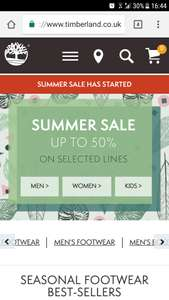 Up to 50% off summer sale at timberland