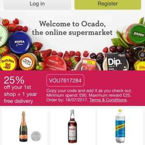 Ocado 1 year free delivery with code