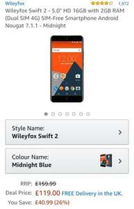 "Wileyfox Swift 2 - 5.0"" HD 16GB with 2GB RAM (Dual SIM 4G) SIM-Free Smartphone Android Nougat 7.1.1 - Midnight £119.99"