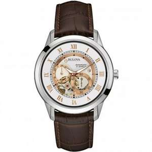 Bulova Men's Designer Automatic Self Winding Watch Leather Strap - White Rose Gold Dial 96A172 £164  @ Amazon