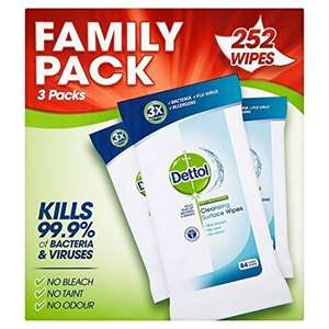 Dettol Anti-Bacterial Cleaning Surface Wipes, 252 Wipes £3.75 - Amazon subscribe & save 25% off