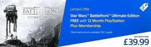 Star Wars Battlefront Ultimate Edition FREE with 12 Month Playstation Plus Membership - £39.99 @ Playstation Store
