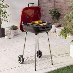 Tesco £18.50 47cm Square Charcoal Kettle BBQ, Red