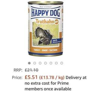 Happy Dog 400g (Pack of 12) dog food tin Turkey £5.51 Prime or £10.26 non prime @ Amazon (up to 3 weeks delivery)