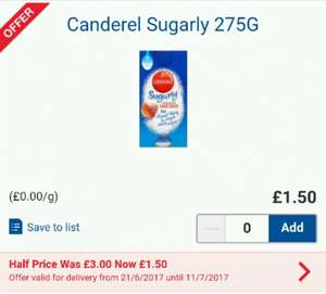 Canderel Sugarly sweetner half price at Tesco £1.50 or 50p with voucher