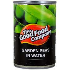 The Good Food Commpany garden peas in water 300gms  for 12p in Pounstretcher Belle Vale.