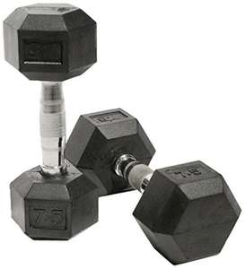 Bodymax Rubber Hex Dumbbells 7.5kg £18.98 prime / £23.73 non prime @ Amazon