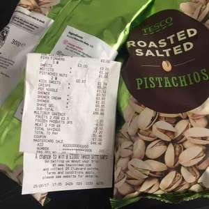Tesco Pistachio 300g Roasted & Salted 87p instore