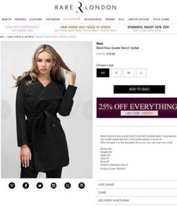 Rare london faux suede jacket was £30 now £11.75 @ Rarelondon