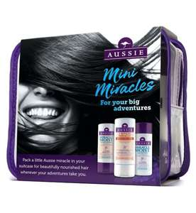 Aussie Travel kit with 3 mini 75ml products and travel toiletry bag now £2.49 with free click & collect @ Boots