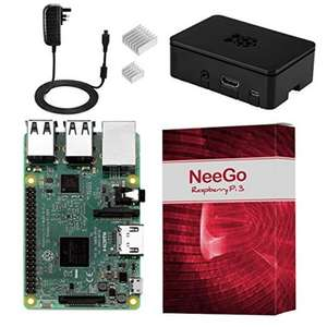 NeeGo Raspberry Pi 3 Kit – Pi 3 Model B Barebones Computer Motherboard with 64bit Quad Core CPU & 1GB RAM, Black Pi3 Case, 2.5A Power Supply & Heatsink 2-Pack £36.99 Sold by kent photo and Fulfilled by Amazon.