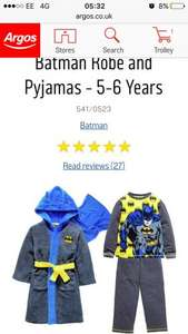 Batman pjs and bath robe half price , good few sizes left free C&C - £12.49 Argos