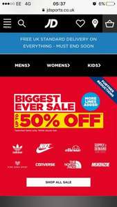 Upto 50% off sale at JD Sports with free delivery on everything