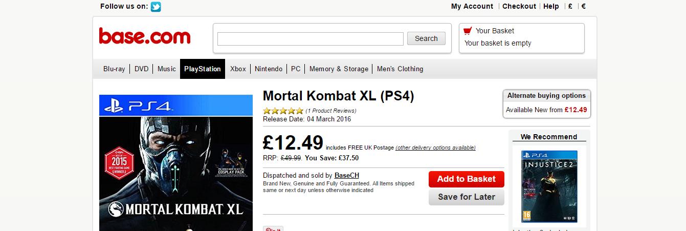 Mortal Kombat XL  PS4 £12.49 @ base.com