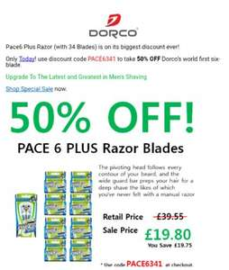 Dorco razor and 34 replacement blades £19.80 delivered (using code PACE6341) Dispatched from and sold by Razors by Dorco - Amazon