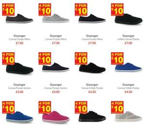 4 Pairs of Slazenger  Canvas pumps for £14.99 delivered (£3.75 a pair) @ Sports Direct