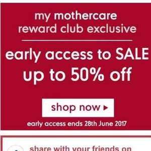 Mothercare early access to sale up to 50% off