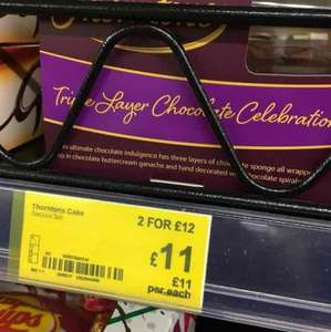 Thorntons chocolate cake £11 - 2 for £12 instore / online at Asda