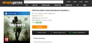 Call Of Duty Modern Warfare Remastered PS4 - £29.85 @ Simplygames.com