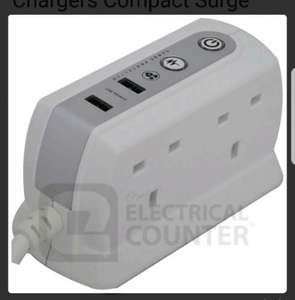 White 4 Gang 2 USB Chargers Compact Surge Protected Extension Lead 1m £10.96 @ Electrical Counter