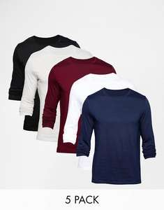 ASOS Long Sleeve T-Shirt With Crew Neck 5 Pack - £10  / £13 delivered or order 2 for free delivery - £2 per t-shirt! @ ASOS