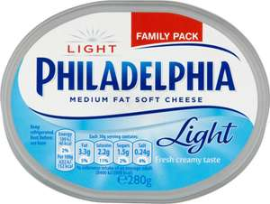 philadelphia soft cheese, original and light 2x280g - £2.00 FarmFoods