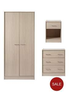 Bedroom Furniture Set - Wardrobe + Chest of Drawers + Bedside Cabinet now £107.99 delivered @ Very