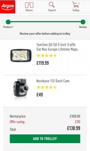 TomTom GO 50 5 Inch Traffic Sat Nav Europe Lifetime Maps + Nextbase 112 Dash Cam £138.99 Free C&C @ Argos