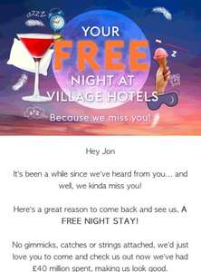 Free Night at the Village Hotel - Selected Customers only, Check your emails