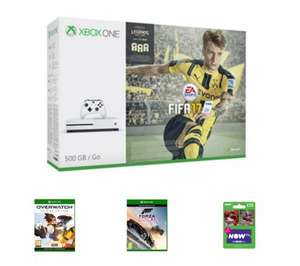 Xbox One S 500GB + Fifa 17 + Overwatch + Forza Horizon 3 + NOW TV 2 Month Cinema Pass £199.99 with code @ Game