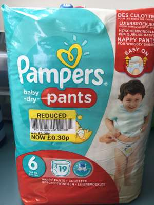 Pampers baby dry size 6 nappies was £3 now 30p @ tesco instore (inglby barwick, north east)