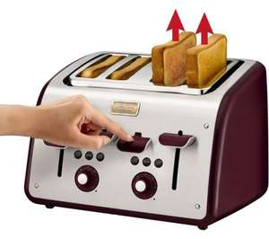 Tefal Maison 4 Slice Toaster - Pomegranate Red and Oatmeal Grey - £25 Sainburys Instore Only